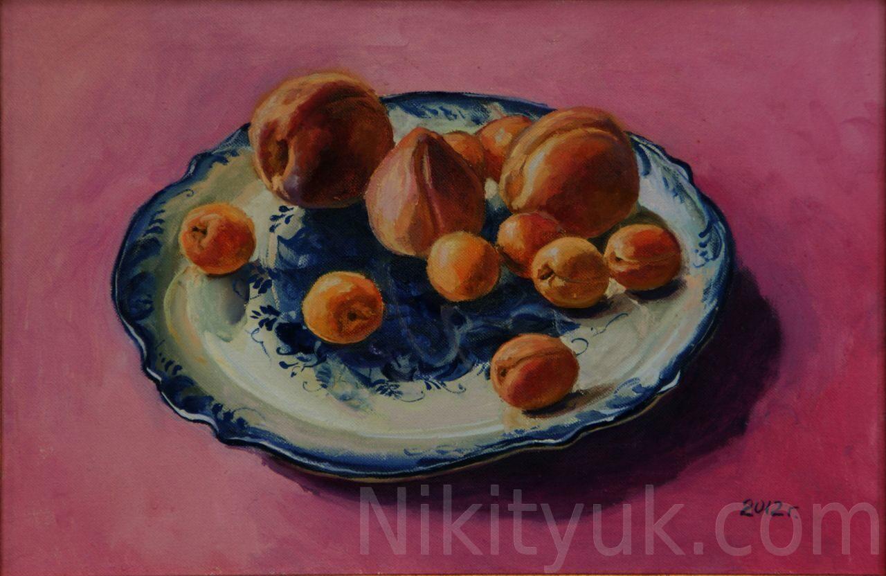 Абрикосы и персики. х.м., 30х45см.,2012г. 10 000 руб., в наличии