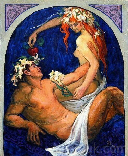 Адам и Ева, х.м.,100х80см, 1991г. 100 000 руб. под заказ