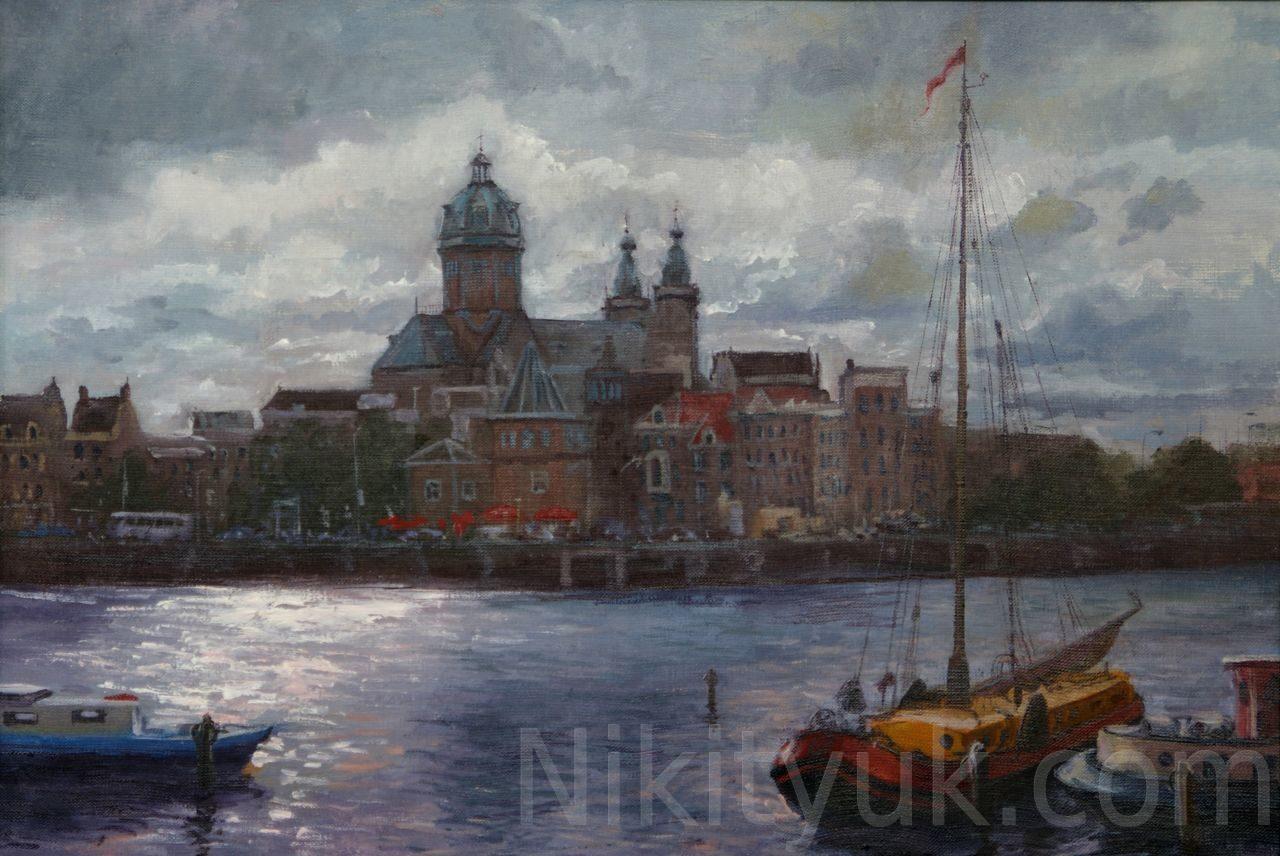 Амстердам. Церковь Св.Николая, х.м., 40х60см, 2002г. 20 000 руб. в наличии