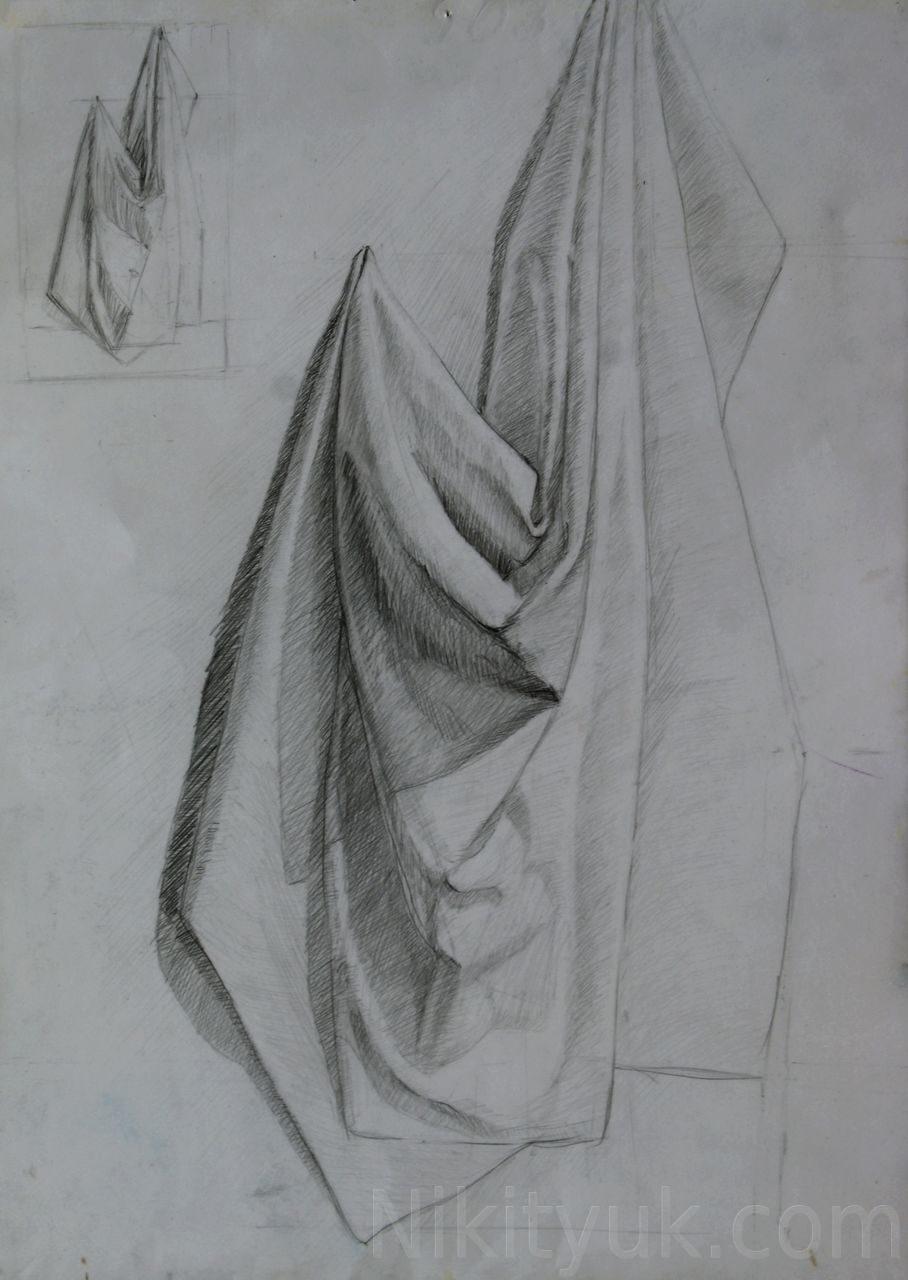 Анастасия Весгейм 37 лет, первый год обучения. Драпировка, бум., карандаш, 60х40см