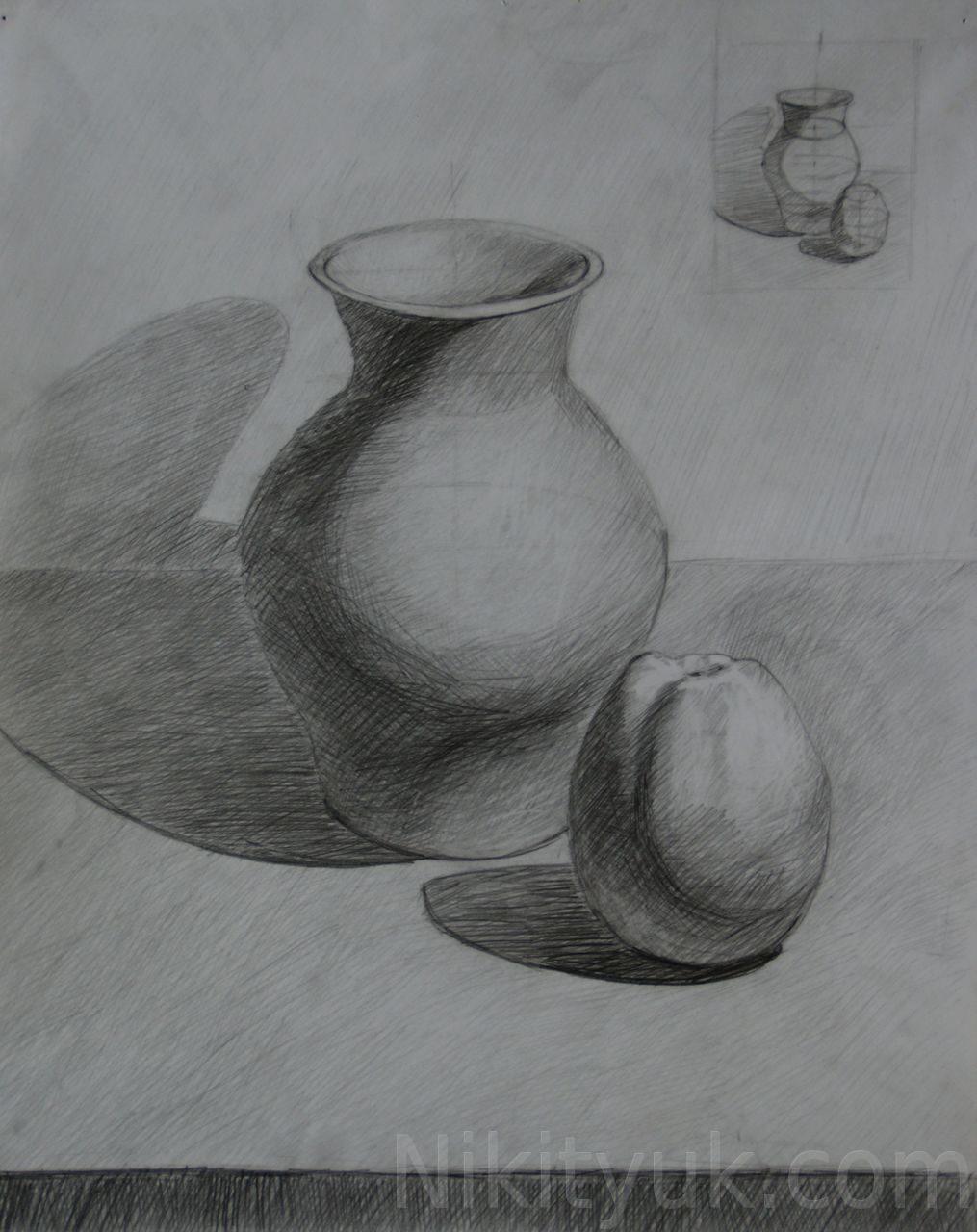 Анастасия Весгейм 37 лет, первый год обучения. Учебный рисунок, бум., карандаш, 60х40см