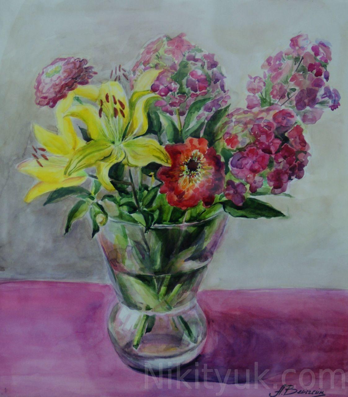 Анастасия Весгейм 37 лет, первый год обучения. Цветы, бум., акв., 50х45см