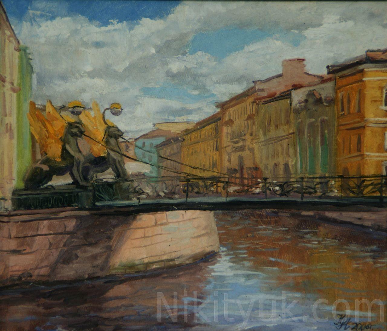 Банковский мостик в С-Петербурге, картон, м., 30х35см, 2006г. 10 000 руб. в наличии