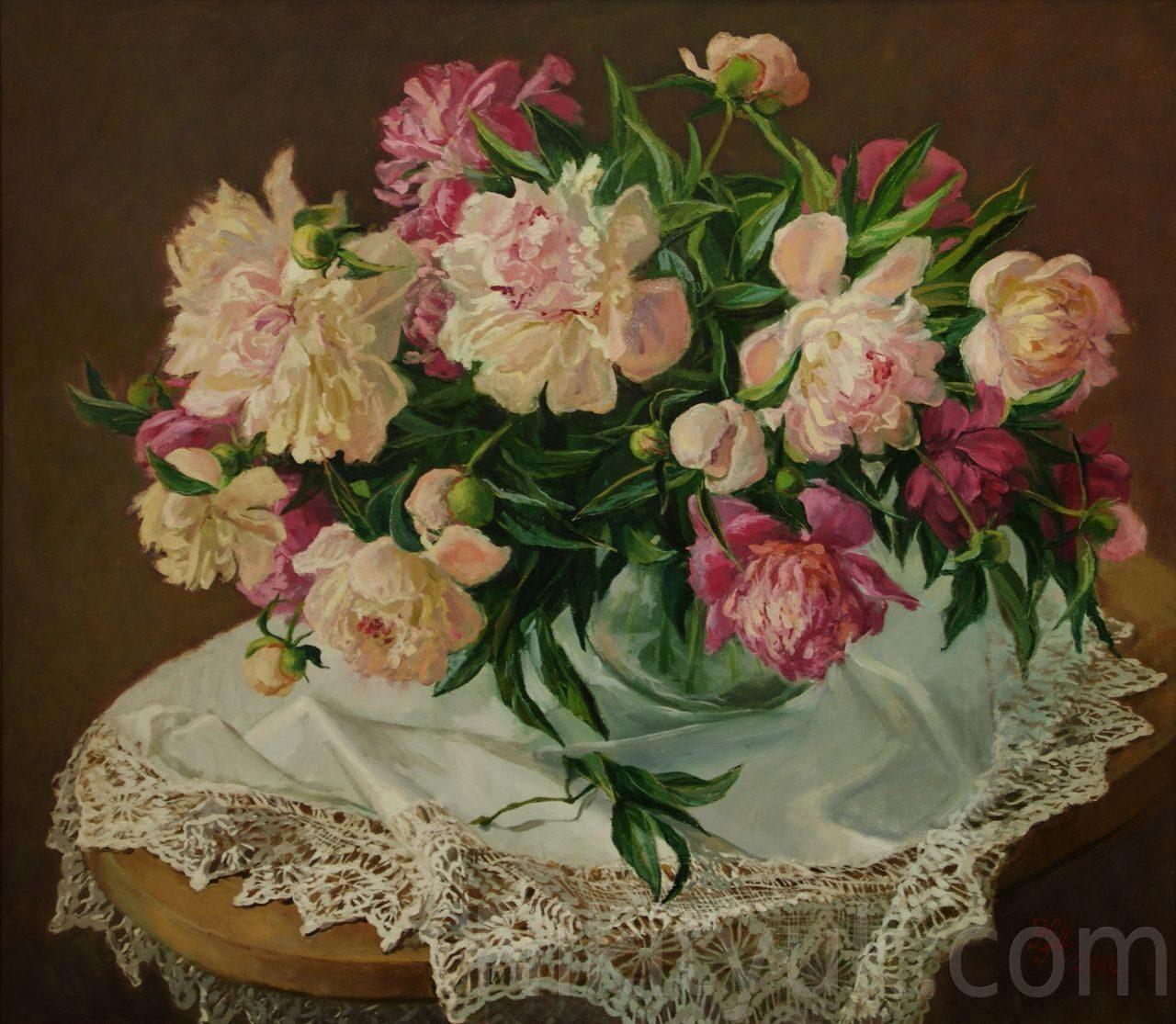 Белые и розовые пионы., х.м. 70х80см, 2011г. 60 000 руб., в ниличии