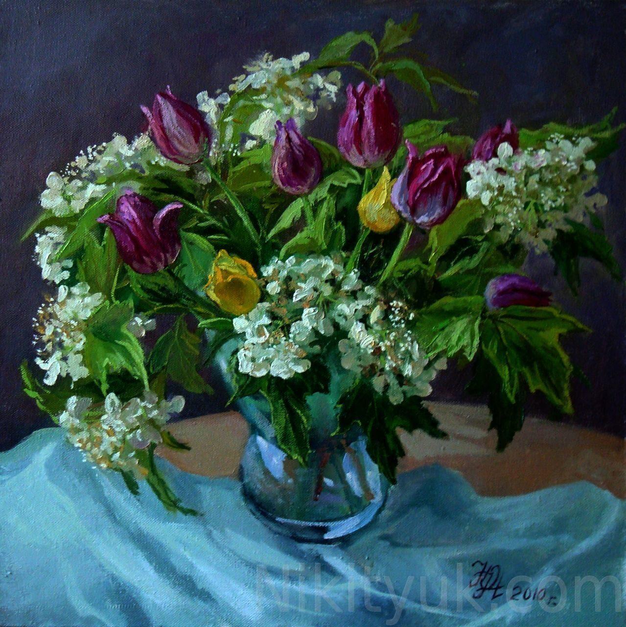 Букет с тюльпанами, х.м., 40х40см, 2010г. 8 000 руб., под заказ