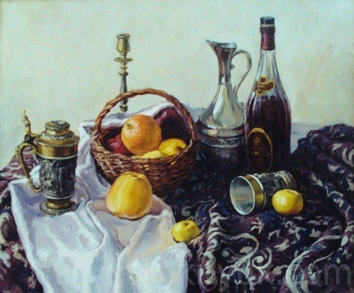 Вино и фрукты, х.м., 50х60см, 2000г. 30 000 руб., под заказ