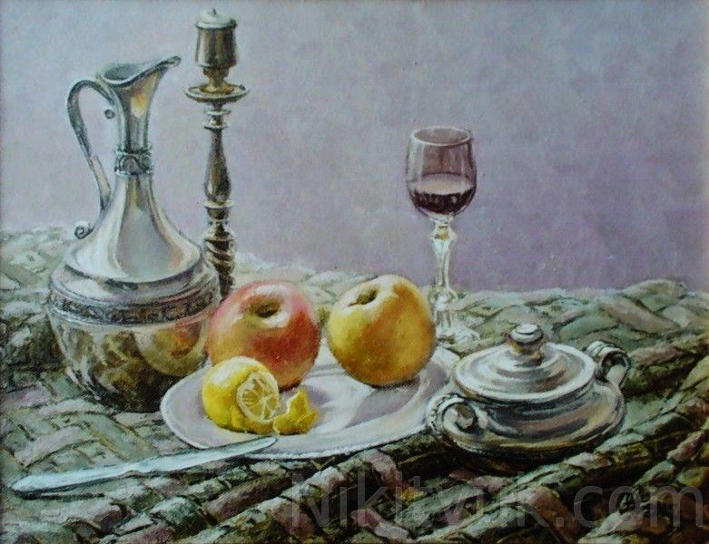 Вино и яблоки, х.м., 40х50см, 2005г. 25 000 руб., под заказ