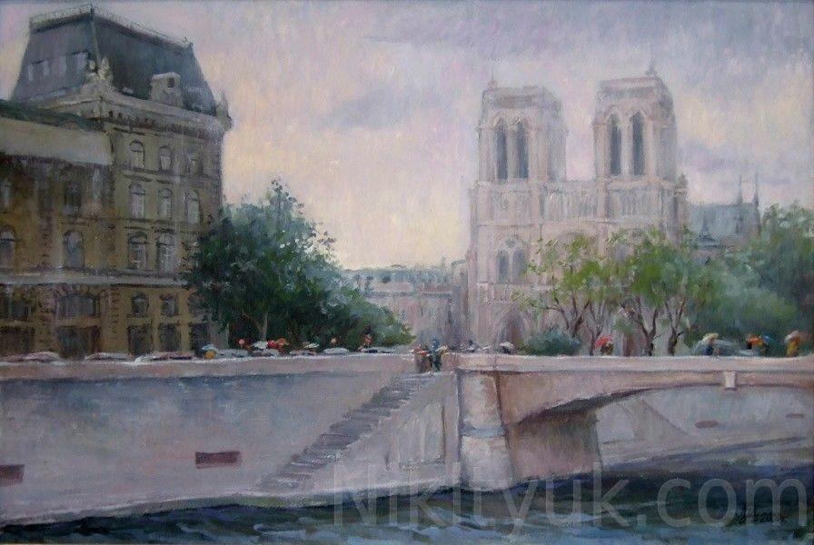 Дождь в Париже, 70х90см, х.м., 2000г. 60 000 руб. под заказ