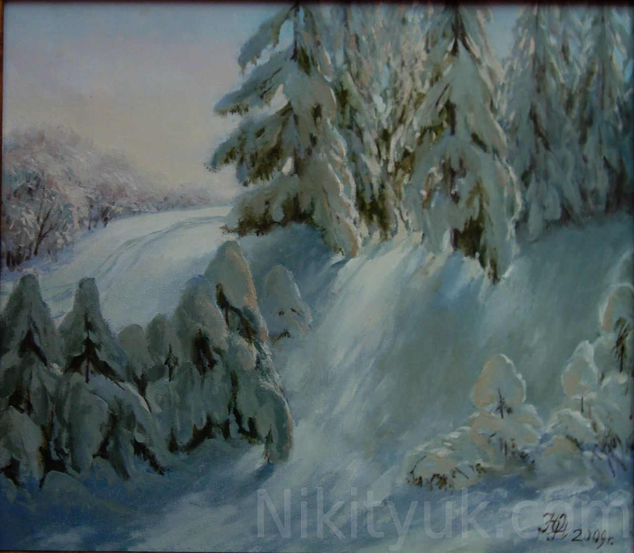 Заснеженный лес., х.м., 40х45см, 2009г. 15 000 руб., под заказ