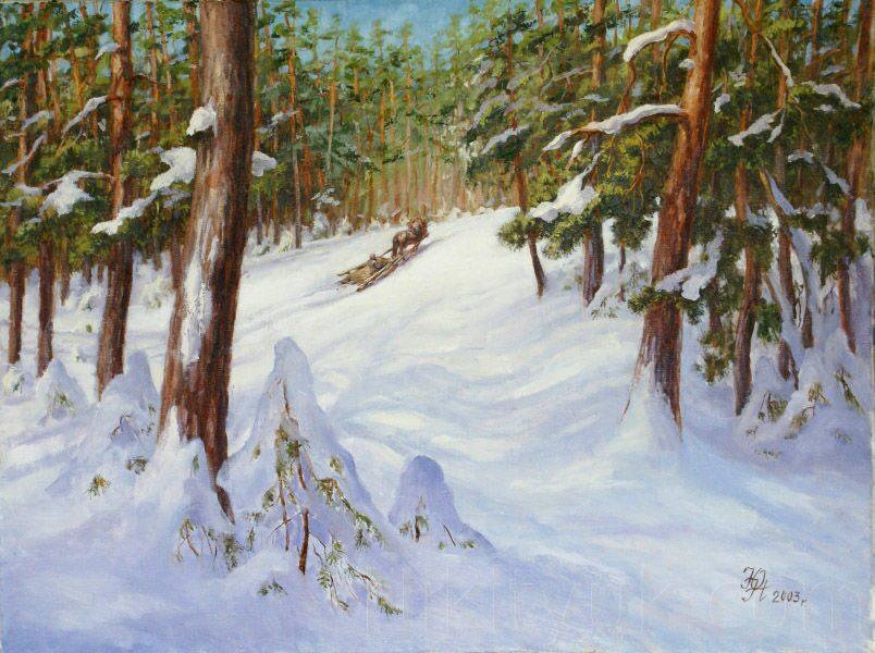 Зимний лес, х.м., 60х80см, 2003г. 25 000 руб., под заказ