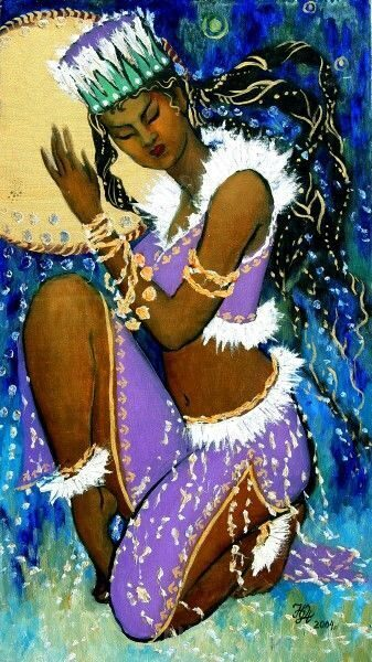Золотой бубен шаманки. Тихий танец,, х.м., акрил, 80х45см, 2004г. 50 000 руб. под заказ