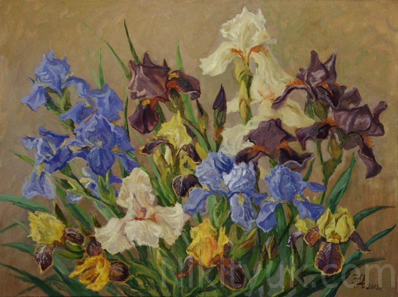 Ирисы. Королевские цветы, х.м., 60х80см, 2013г. 40 000 руб., в наличии.