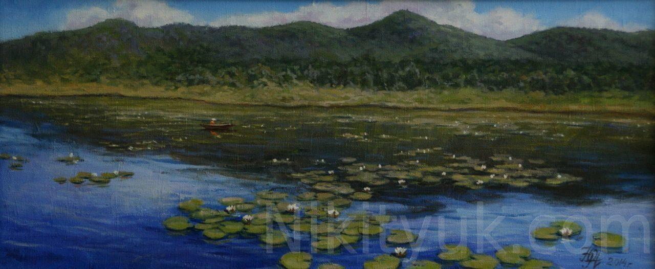 Лилии на озере Манжерок, х.м., 30х70см, 2014г., 15 000 руб., в наличии