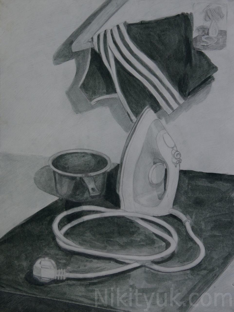 Мария Сергеева 15 лет, второй год обучения. Учебная постановка, бум., соус, карандаш, 60х40см