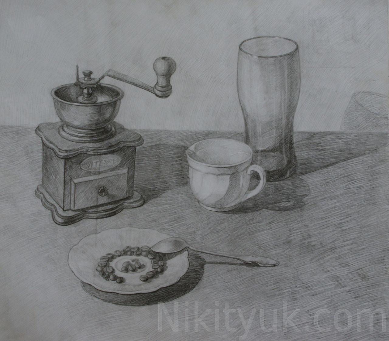 Мария Сергеева 16 лет, третий год обучения. Учебный рисунок, бум., карандаш, 40х45см