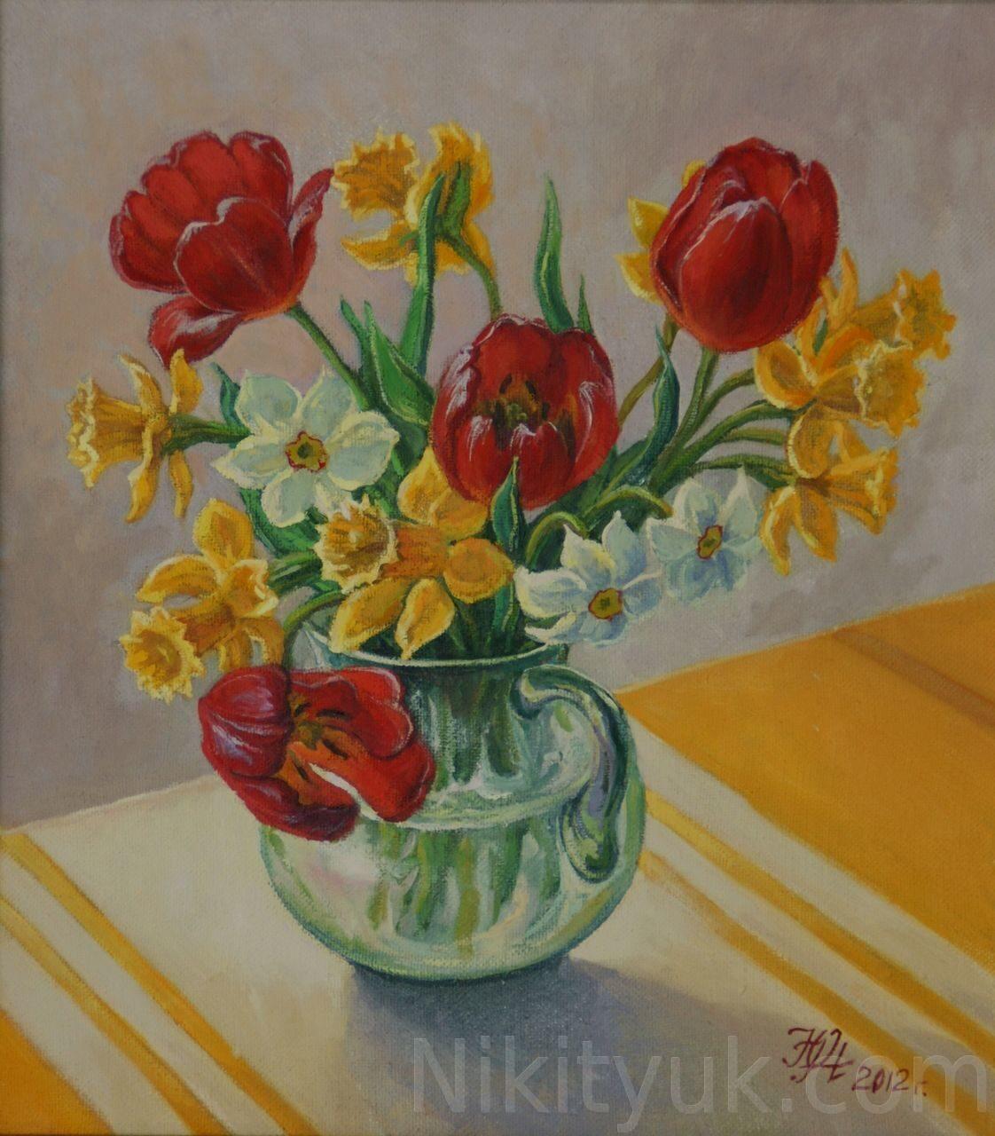 Нарциссы и тюльпаны, х.м., 50х40см, 2006г. 8 000 руб., в наличии