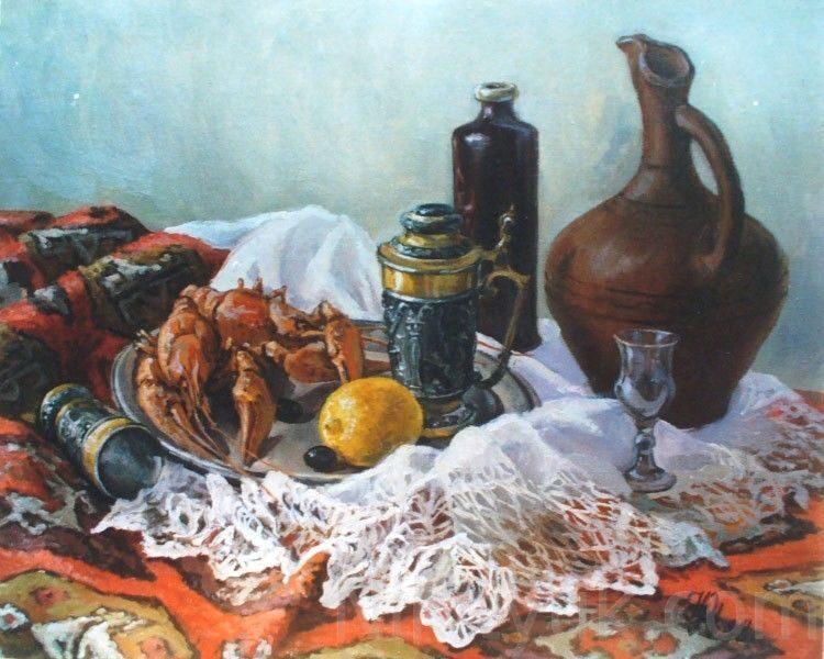 Натюрморт с раками, х.м., 50х60см, 1998г. 25 000 руб., под заказ