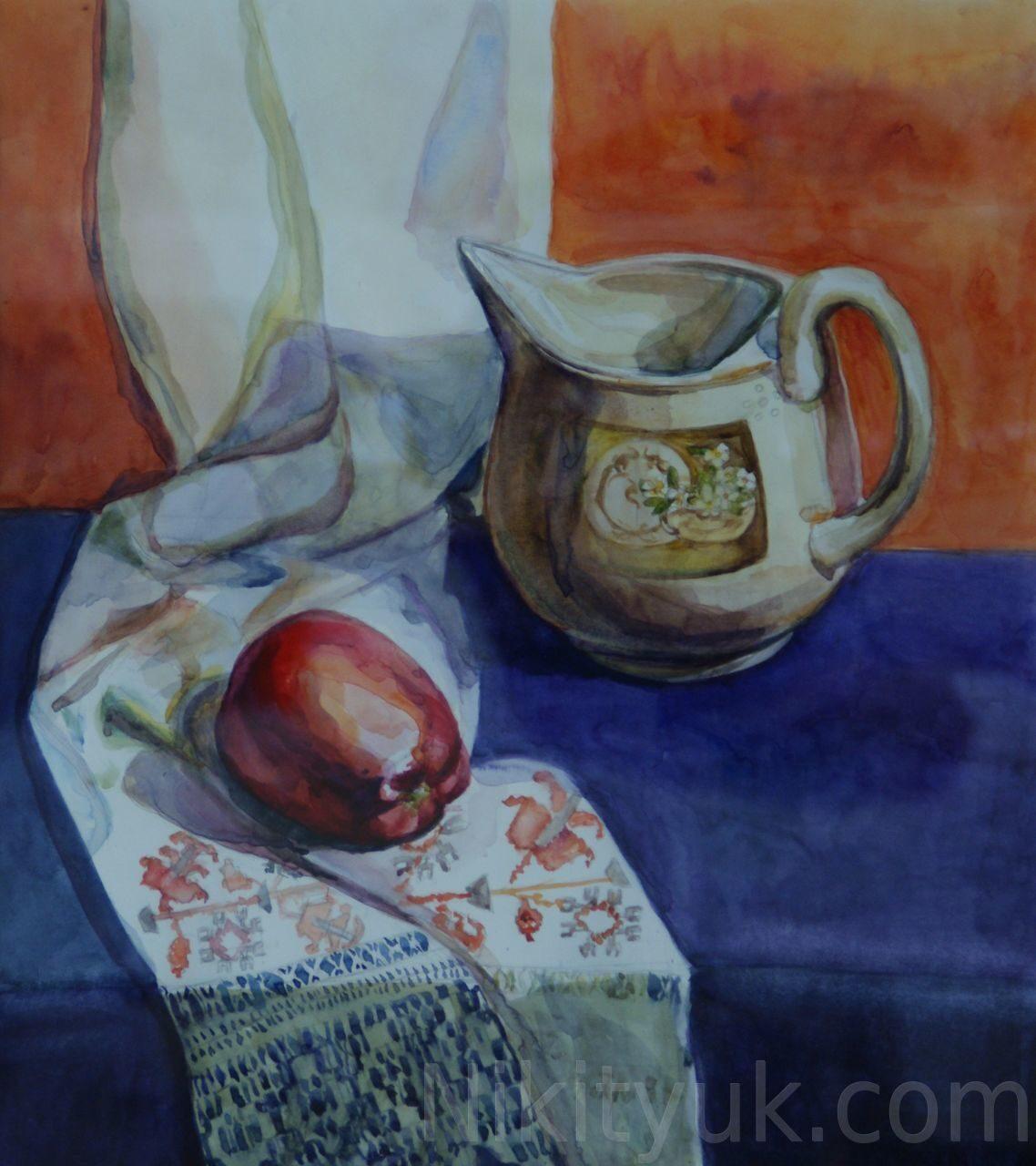 Ольга Баталова 30 лет, первый год обучения. Учебный натюрморт, бум., акв., 50х45см