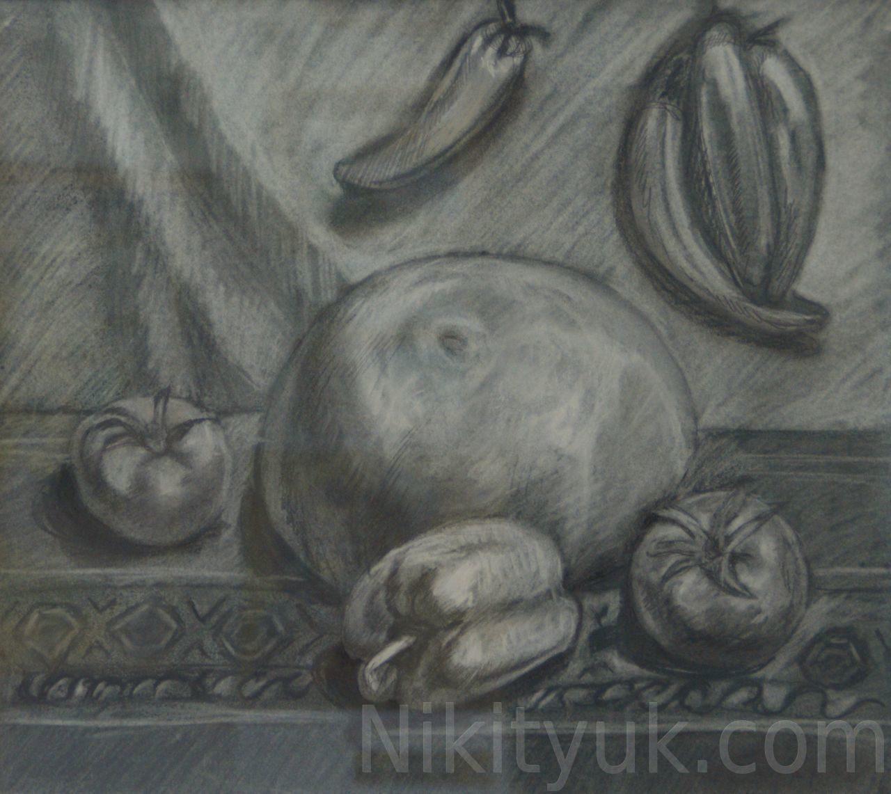 Ольга Баталова 31 год второй год обучения. Учебная постановка, бум., соус, карандаш, 40х45см