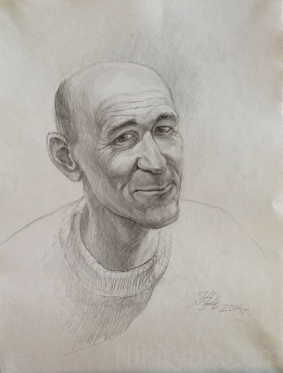 Портрет мужчины, бум., карандаш, 60х40см, 2014г.