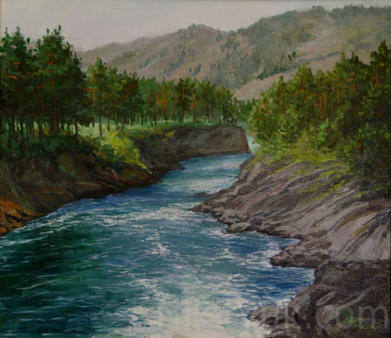 Река Чемал, х.м., 45х50см, 2013г. 12 000 руб., в наличии