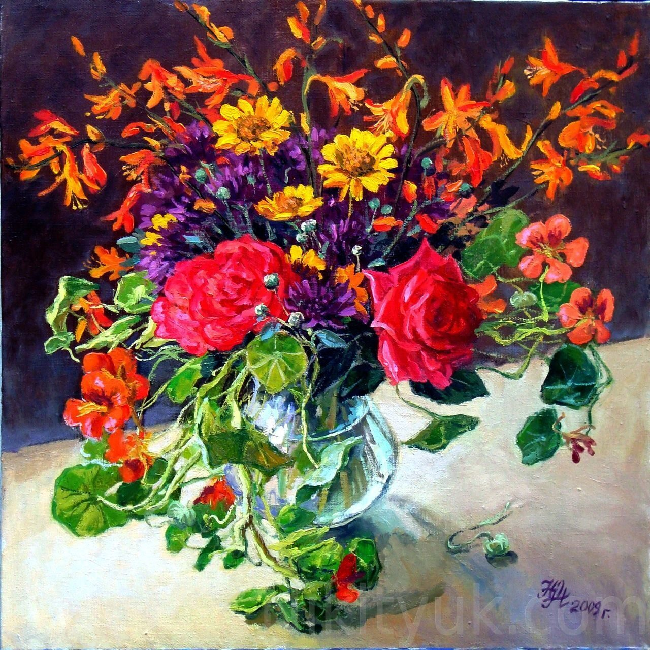 Садовые цветы, х.м., 40х45см, 2009г. 10 000 руб., под заказ