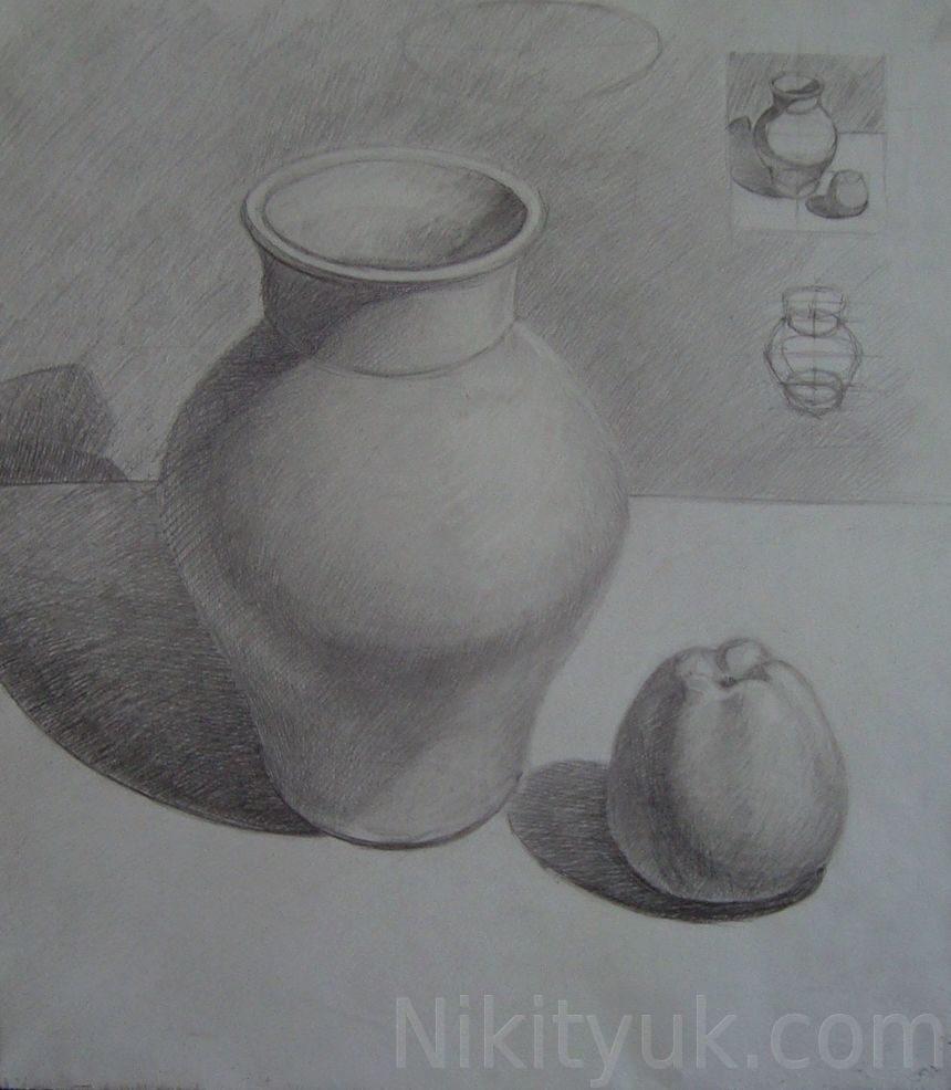 Светлана Хохлова 25 лет, первый год обучения. Учебный рисунок, бум., карандаш.