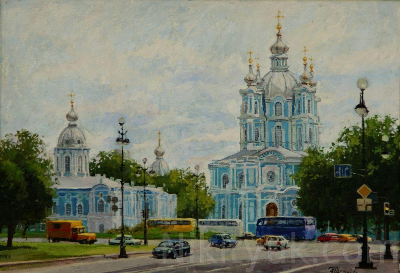 Смольный монастырь в С-Петербурге, картон, м., 35х50см, 2006г. 30 000 руб. в наличии