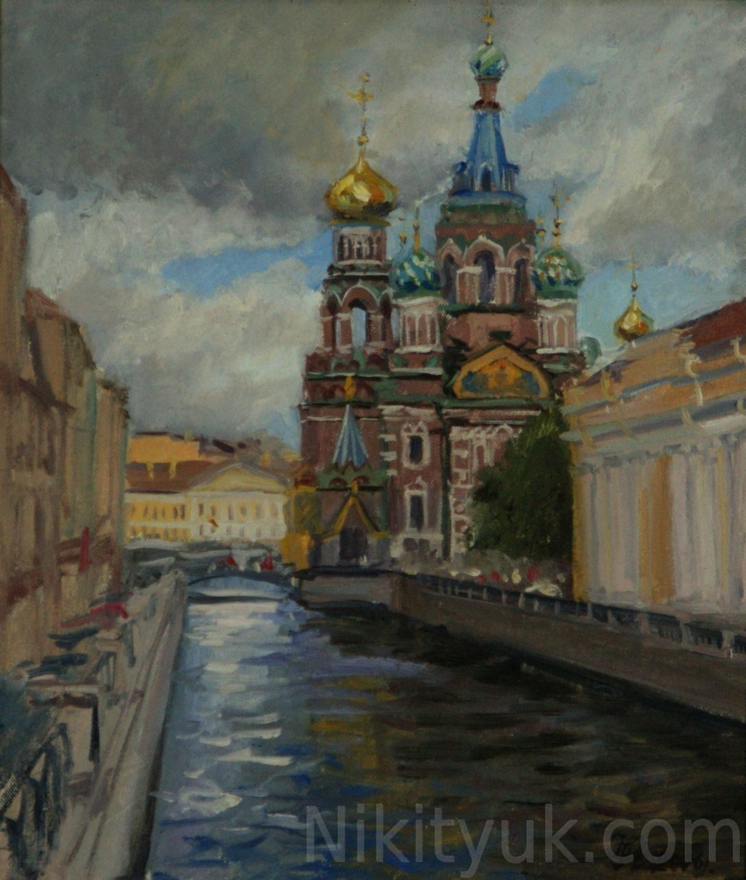 Собор Спаса на крови в С-Петербурге, 35х30см, картон, масло. 20 000 руб. в наличии
