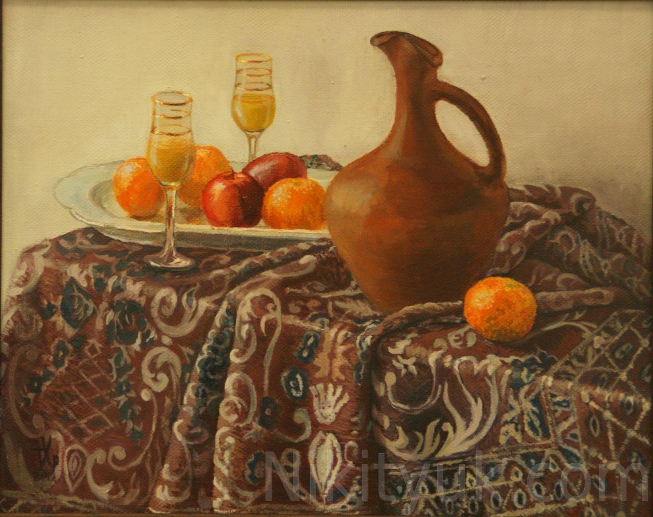 Татьяна Хрущёва 52 года, второй год обучения. Натюрморт с апельсинами, х.м., 40х50см