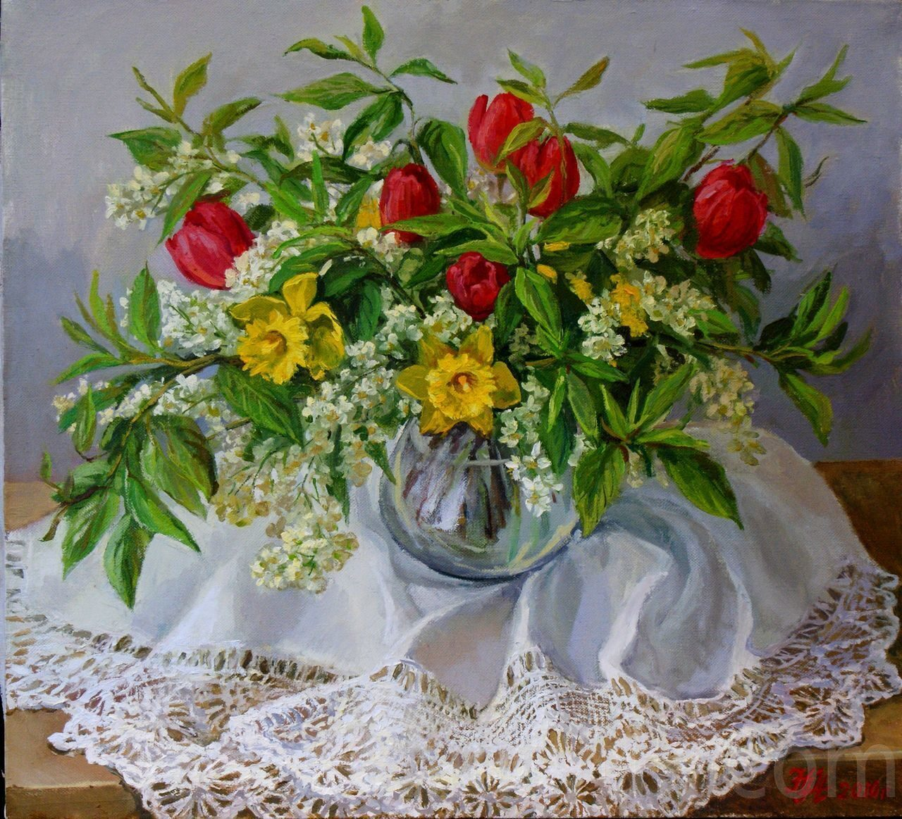 Тюльпаны и нарциссы. 50х55см, х.м. 15 000 руб., под заказ