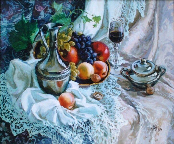 Фрукты и красное вино, х.м., 50х60см, 1995г. 30 000 руб., под заказ