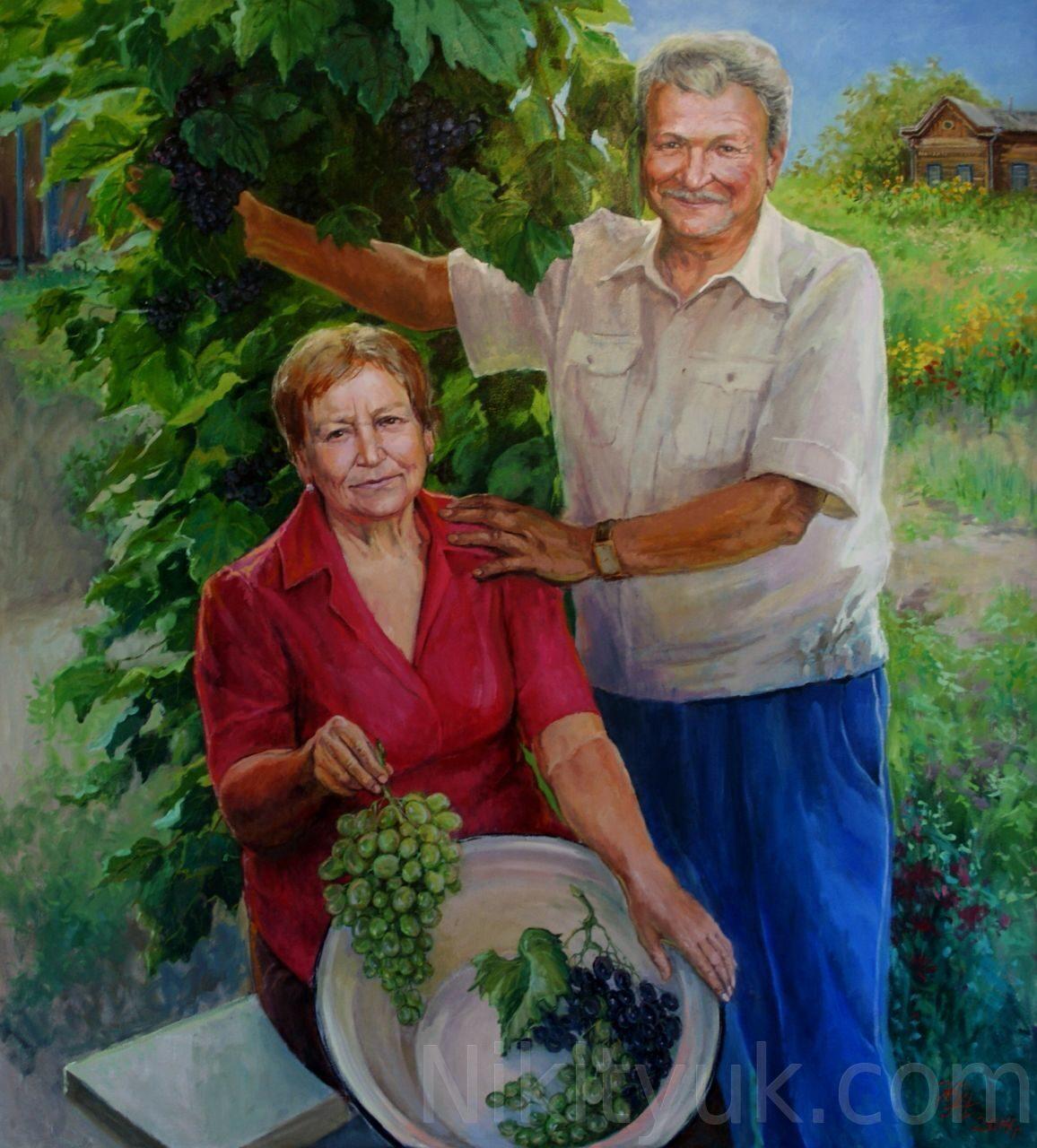 Хороший урожай. Мои родители. х.м. 110х100см. 2014г.