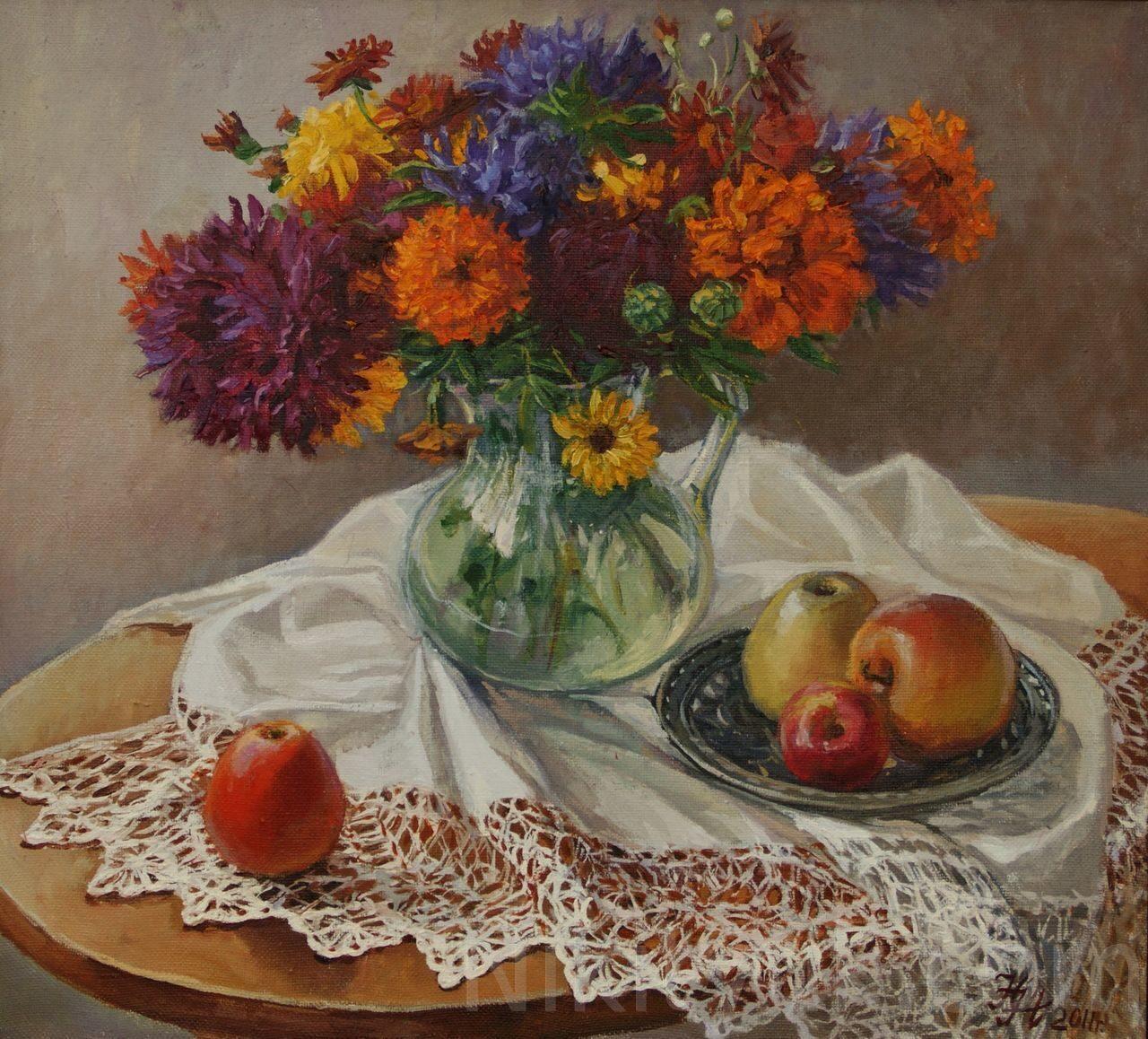 Цветы и яблоки, х.м., 50х55см, 2011г. 15 000 руб., под заказ