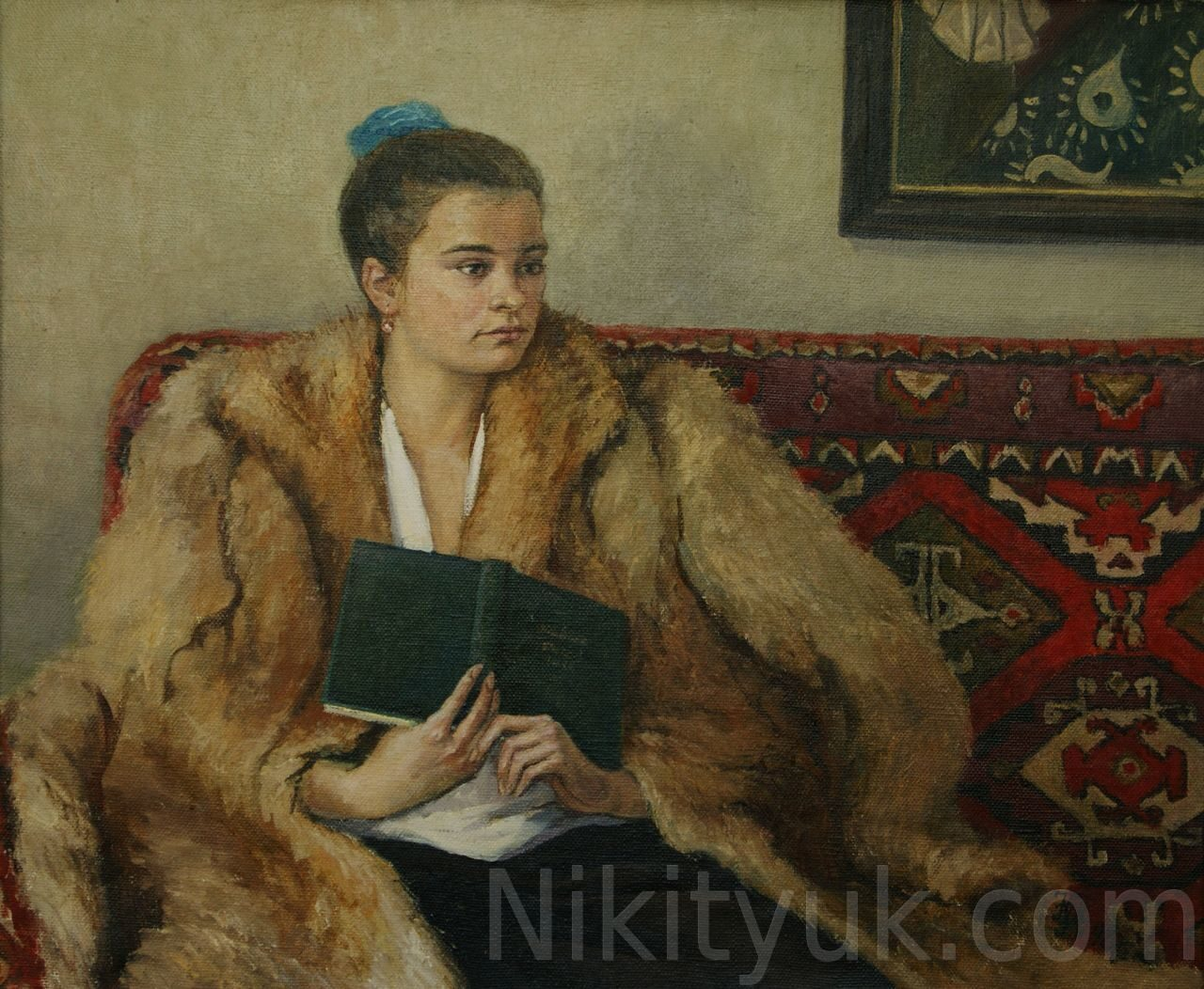 №10 Портрет дочери в шубе, х.м., 85х70см, 1998г.