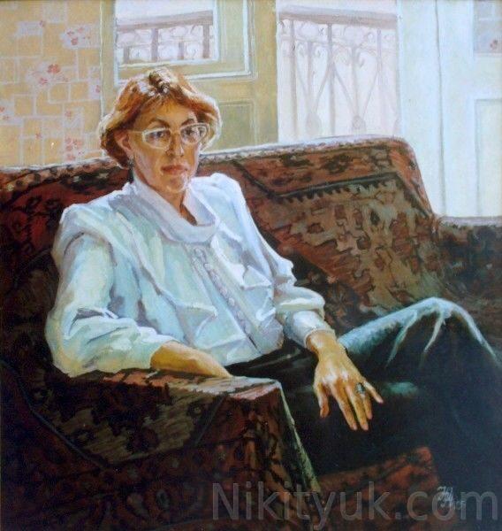 №11 Портрет искусствоведа В.В.Сазоновой, х.м., 82х78см, 1995г..