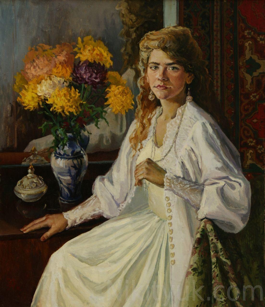 №9 Портрет дамы с хризантемами, х.м., 70х60см., 1994г.